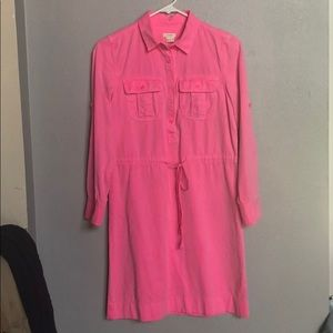 J. Crew Pink Long Sleeve Dress